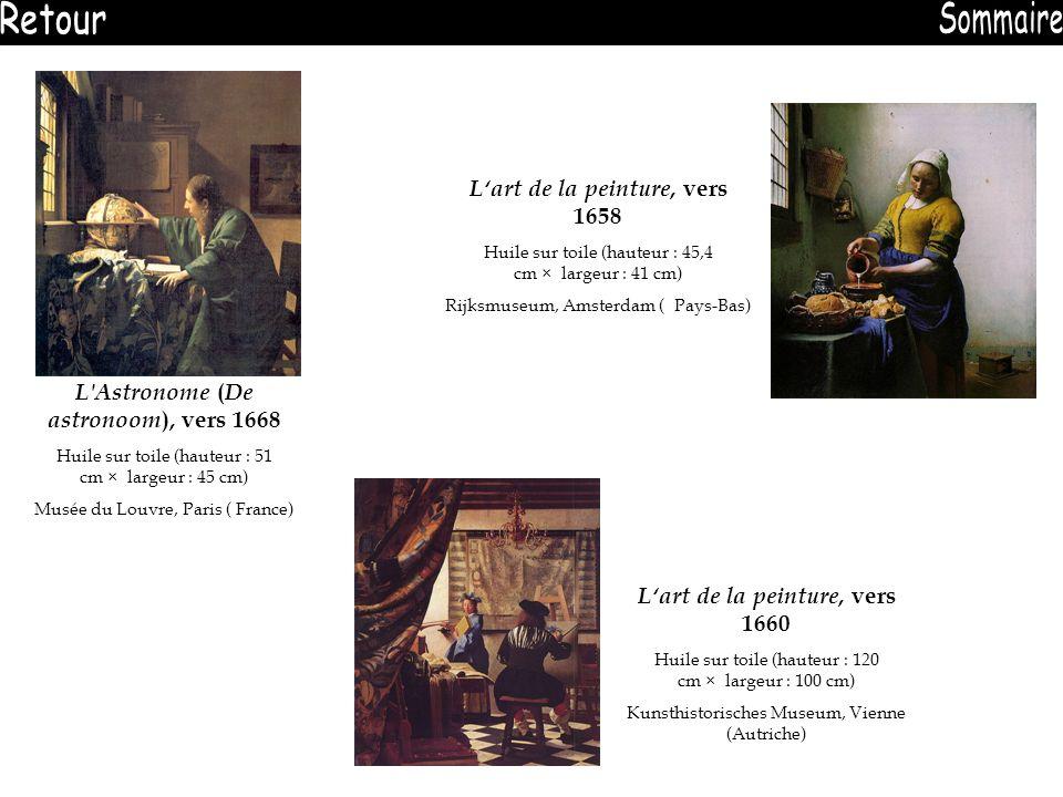 L'Astronome ( De astronoom ), vers 1668 Huile sur toile (hauteur : 51 cm × largeur : 45 cm) Musée du Louvre, Paris ( France) Lart de la peinture, vers