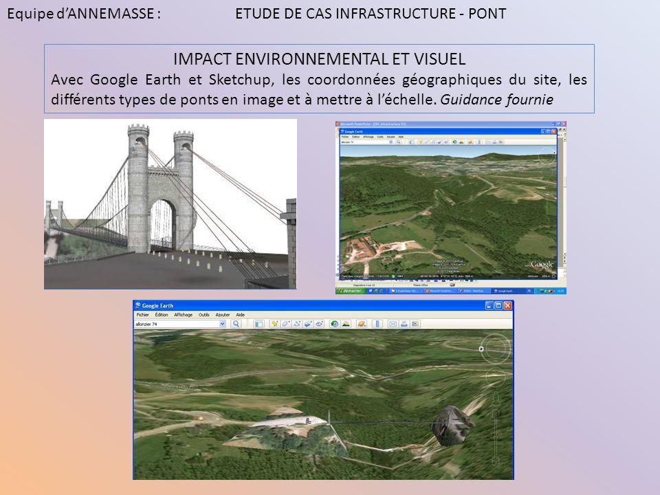 IMPACT ENVIRONNEMENTAL ET VISUEL Avec Google Earth et Sketchup, les coordonnées géographiques du site, les différents types de ponts en image et à met