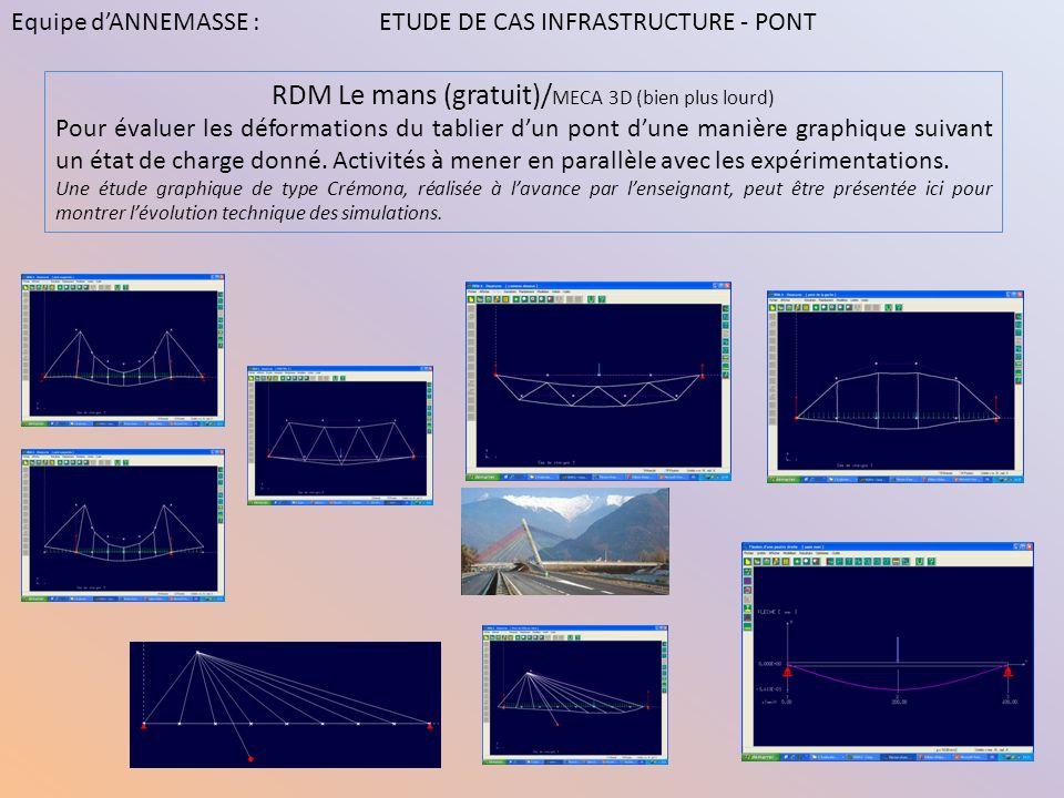 RDM Le mans (gratuit)/ MECA 3D (bien plus lourd) Pour évaluer les déformations du tablier dun pont dune manière graphique suivant un état de charge do