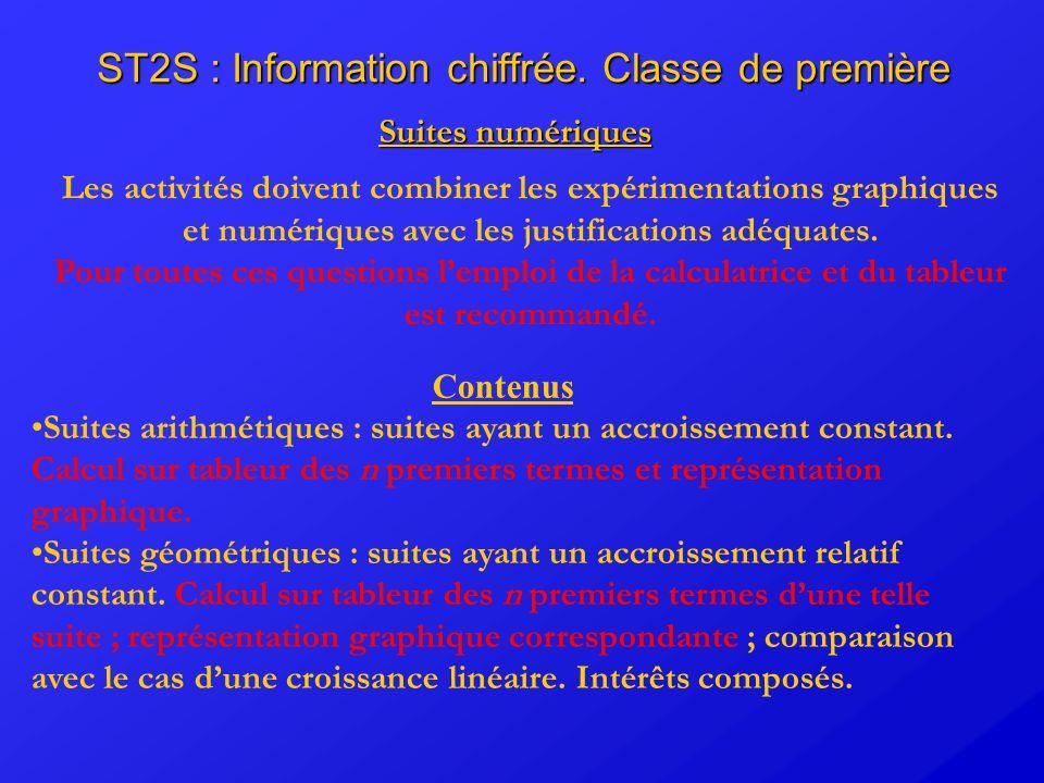 ST2S : Information chiffrée. Classe de première Suites numériques Les activités doivent combiner les expérimentations graphiques et numériques avec le