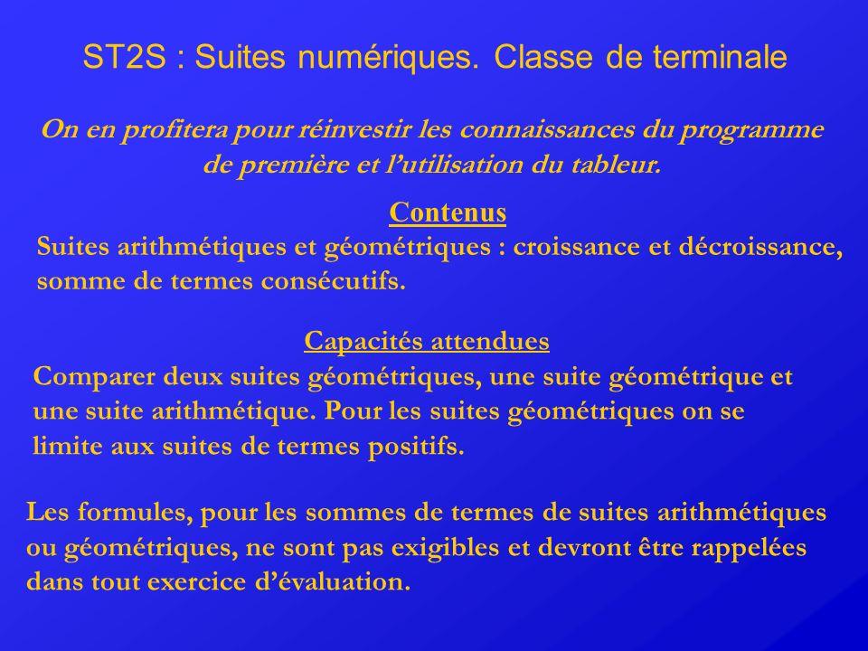ST2S : Suites numériques. Classe de terminale Contenus Suites arithmétiques et géométriques : croissance et décroissance, somme de termes consécutifs.