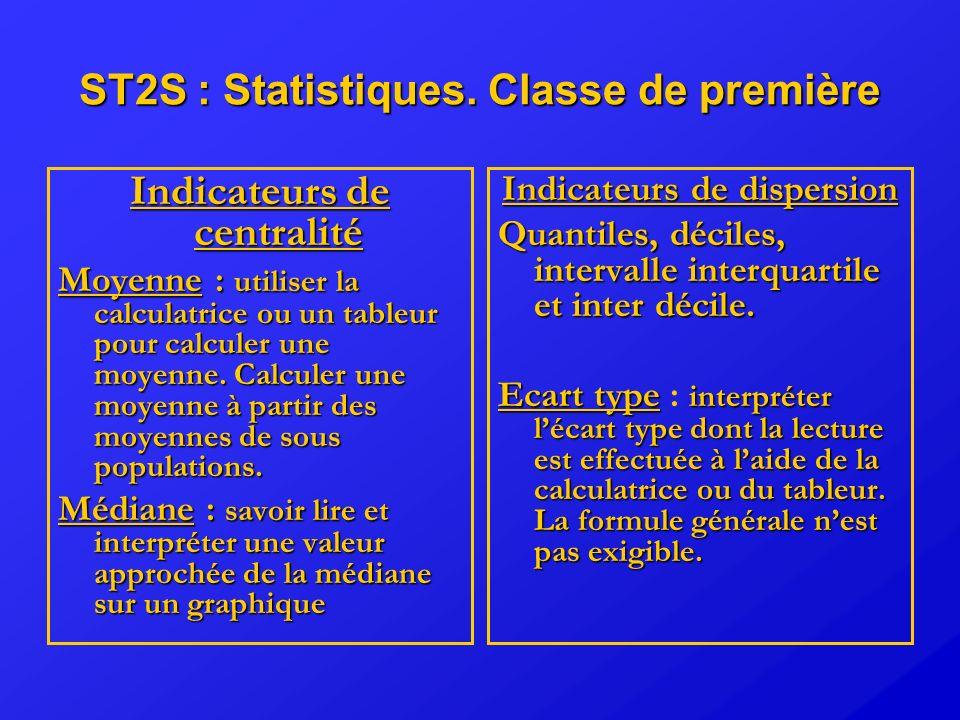 ST2S : Statistiques. Classe de première Indicateurs de centralité Moyenne: utiliser la calculatrice ou un tableur pour calculer une moyenne. Calculer