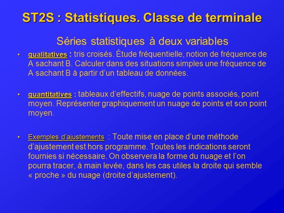 ST2S : Statistiques. Classe de terminale Séries statistiques à deux variables qualitativesqualitatives : tris croisés. Étude fréquentielle, notion de