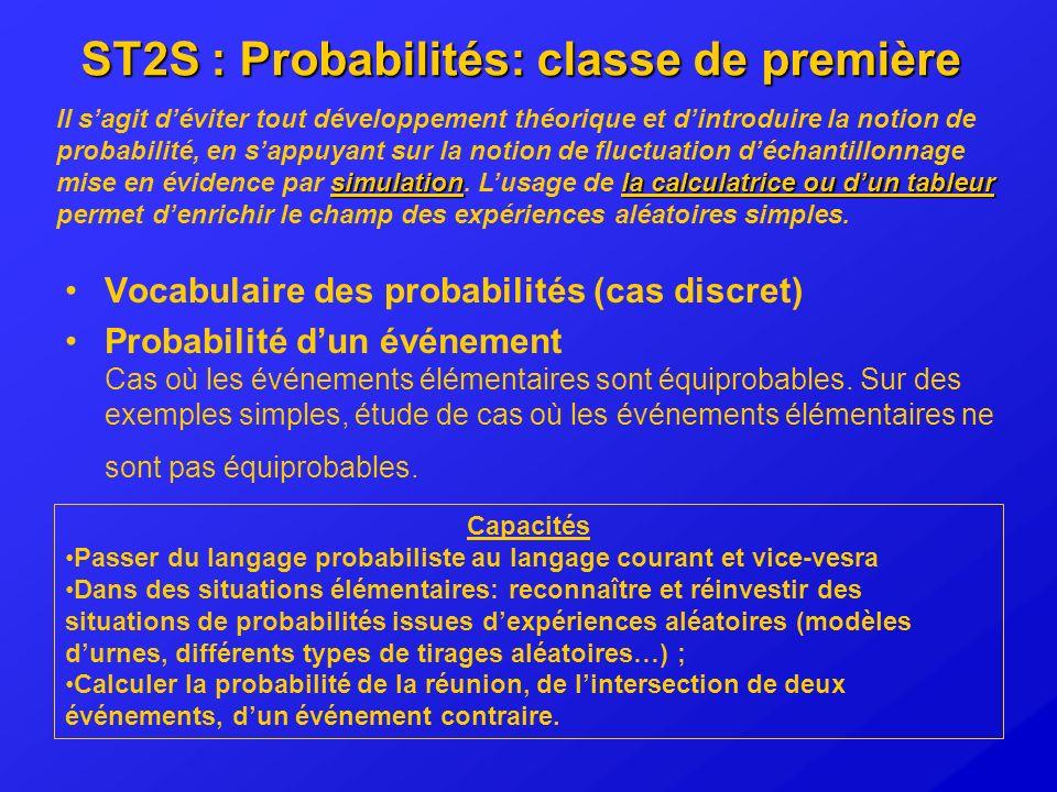 ST2S : Probabilités: classe de première Vocabulaire des probabilités (cas discret) Probabilité dun événement Cas où les événements élémentaires sont é