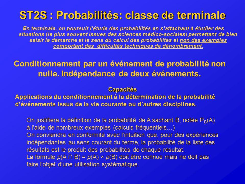 ST2S : Probabilités: classe de terminale En terminale, on poursuit létude des probabilités en sattachant à étudier des situations (le plus souvent iss