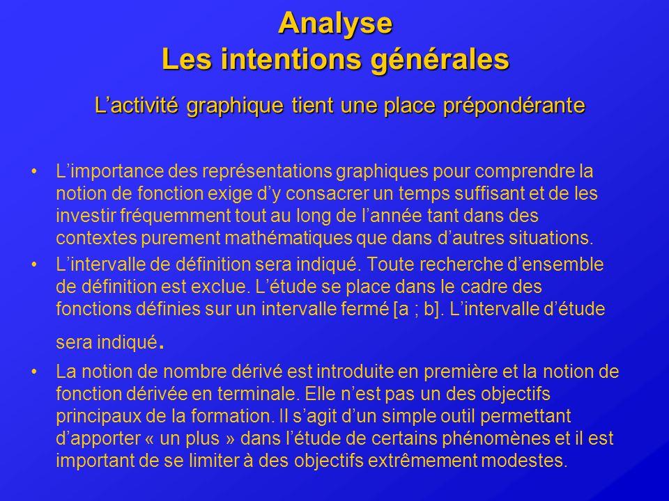 Analyse Les intentions générales Limportance des représentations graphiques pour comprendre la notion de fonction exige dy consacrer un temps suffisan