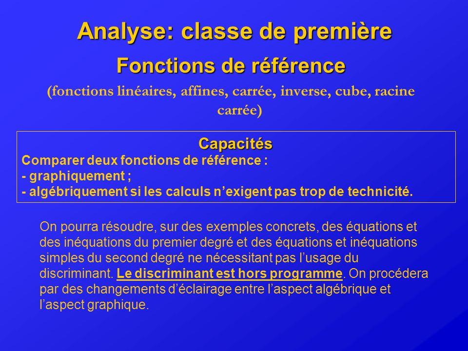 Analyse: classe de première Fonctions de référence (fonctions linéaires, affines, carrée, inverse, cube, racine carrée) Capacités Comparer deux foncti
