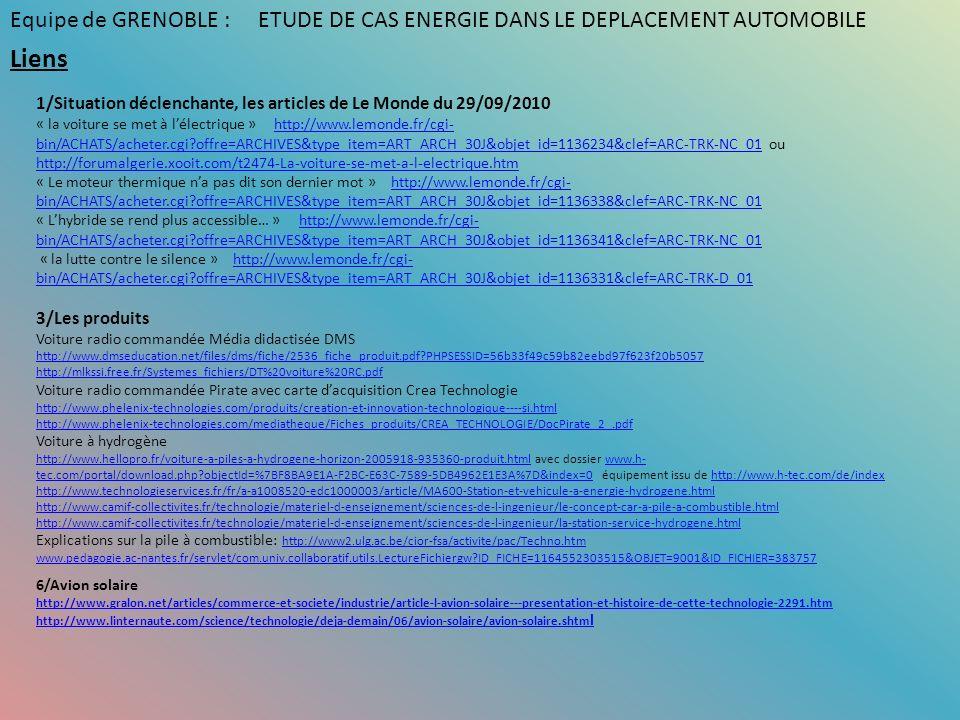 Liens 1/Situation déclenchante, les articles de Le Monde du 29/09/2010 « la voiture se met à lélectrique » http://www.lemonde.fr/cgi- bin/ACHATS/achet