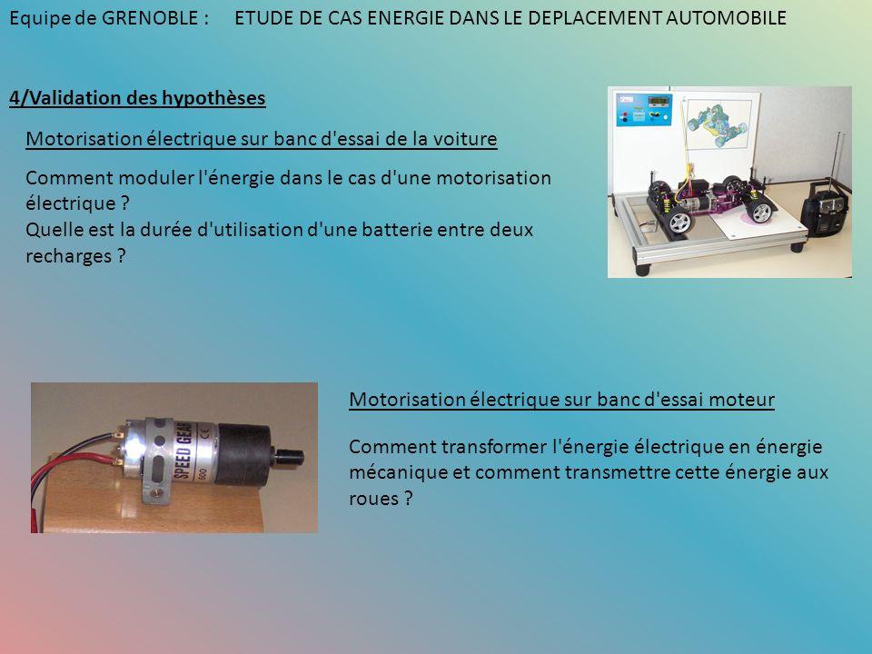 4/Validation des hypothèses Motorisation électrique sur banc d'essai de la voiture Comment moduler l'énergie dans le cas d'une motorisation électrique