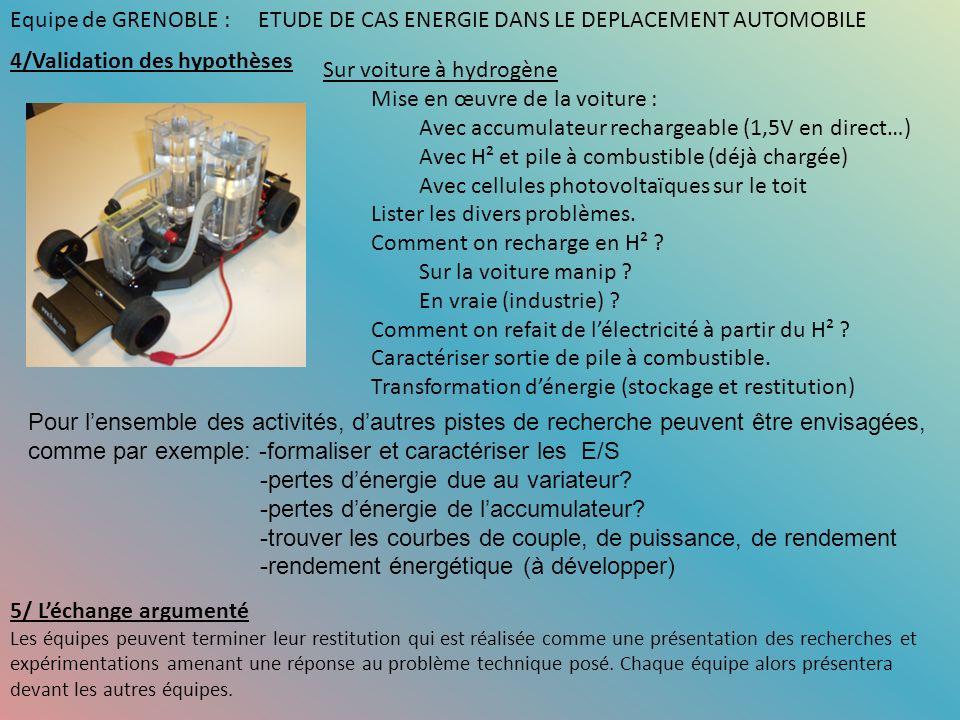 Sur voiture à hydrogène Mise en œuvre de la voiture : Avec accumulateur rechargeable (1,5V en direct…) Avec H² et pile à combustible (déjà chargée) Av