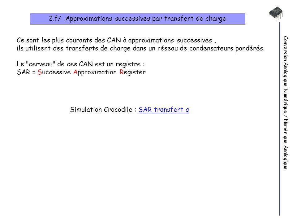 Conversion Analogique Numérique / Numérique Analogique 2.f/ Approximations successives par transfert de charge Simulation Crocodile : SAR transfert qSAR transfert q Ce sont les plus courants des CAN à approximations successives, ils utilisent des transferts de charge dans un réseau de condensateurs pondérés.