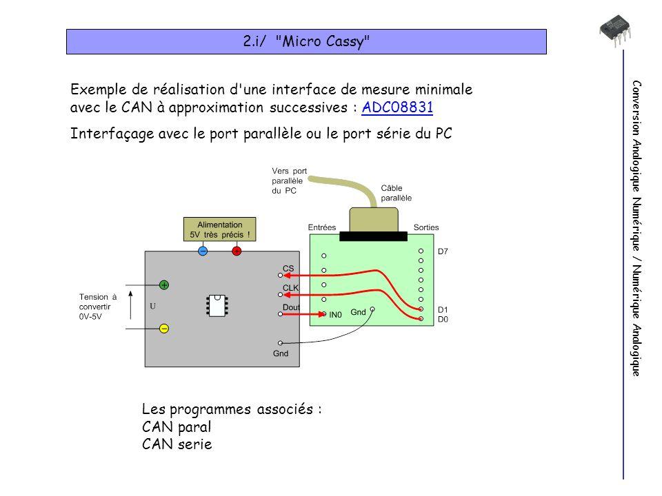 Conversion Analogique Numérique / Numérique Analogique 2.i/ Micro Cassy Exemple de réalisation d une interface de mesure minimale avec le CAN à approximation successives : ADC08831ADC08831 Interfaçage avec le port parallèle ou le port série du PC Les programmes associés : CAN paral CAN serie