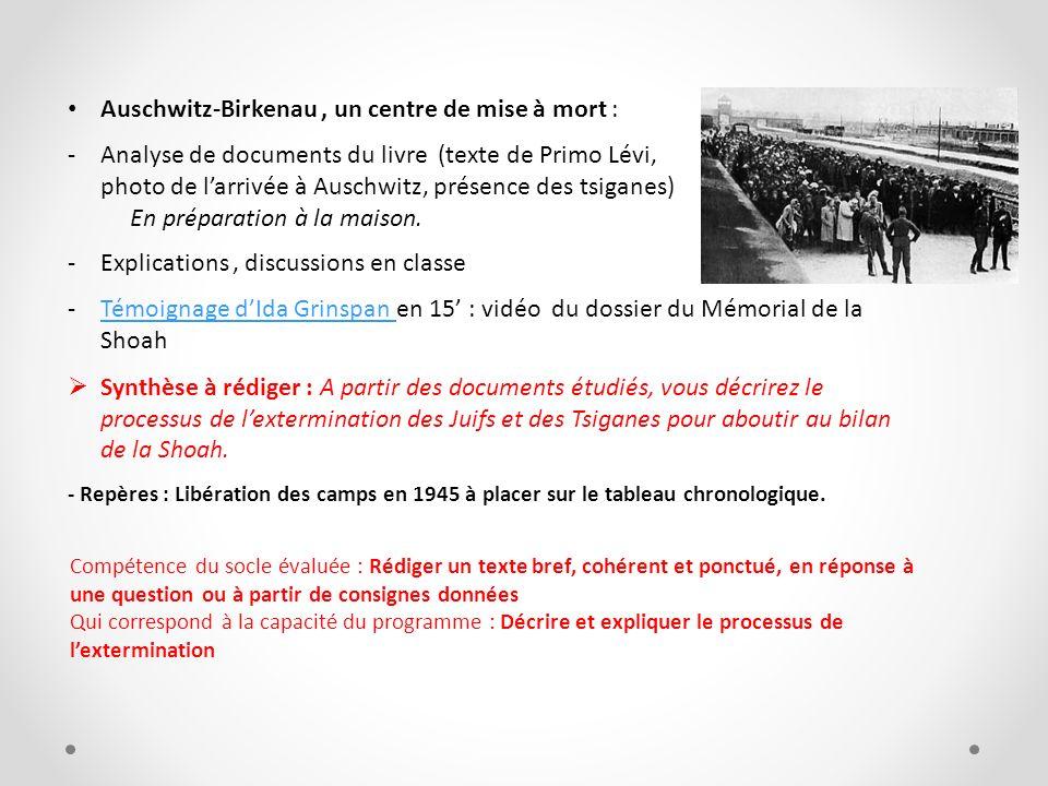 Auschwitz-Birkenau, un centre de mise à mort : -Analyse de documents du livre (texte de Primo Lévi, photo de larrivée à Auschwitz, présence des tsigan