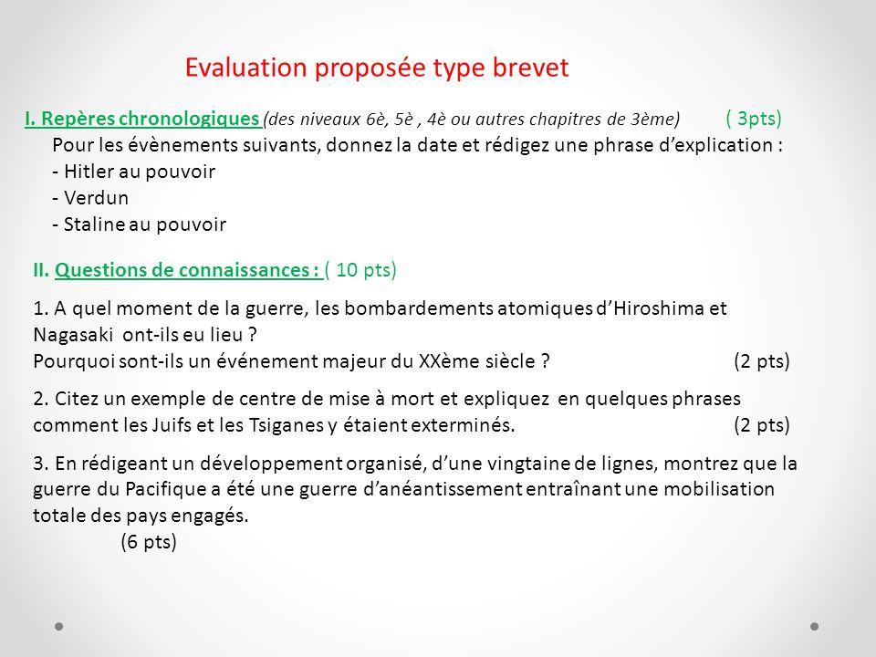 Evaluation proposée type brevet I. Repères chronologiques (des niveaux 6è, 5è, 4è ou autres chapitres de 3ème) ( 3pts) Pour les évènements suivants, d