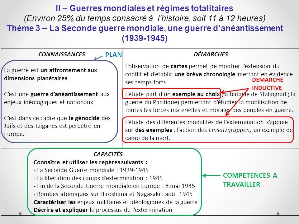 II – Guerres mondiales et régimes totalitaires (Environ 25% du temps consacré à lhistoire, soit 11 à 12 heures) Thème 3 – La Seconde guerre mondiale,