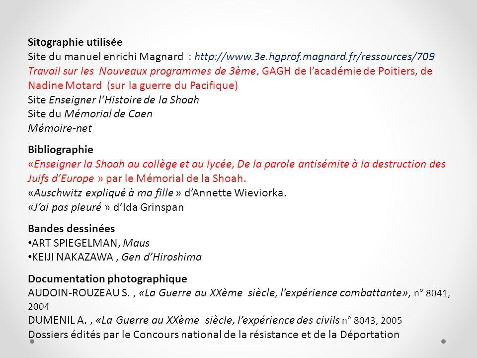 Sitographie utilisée Site du manuel enrichi Magnard : http://www.3e.hgprof.magnard.fr/ressources/709 Travail sur les Nouveaux programmes de 3ème, GAGH