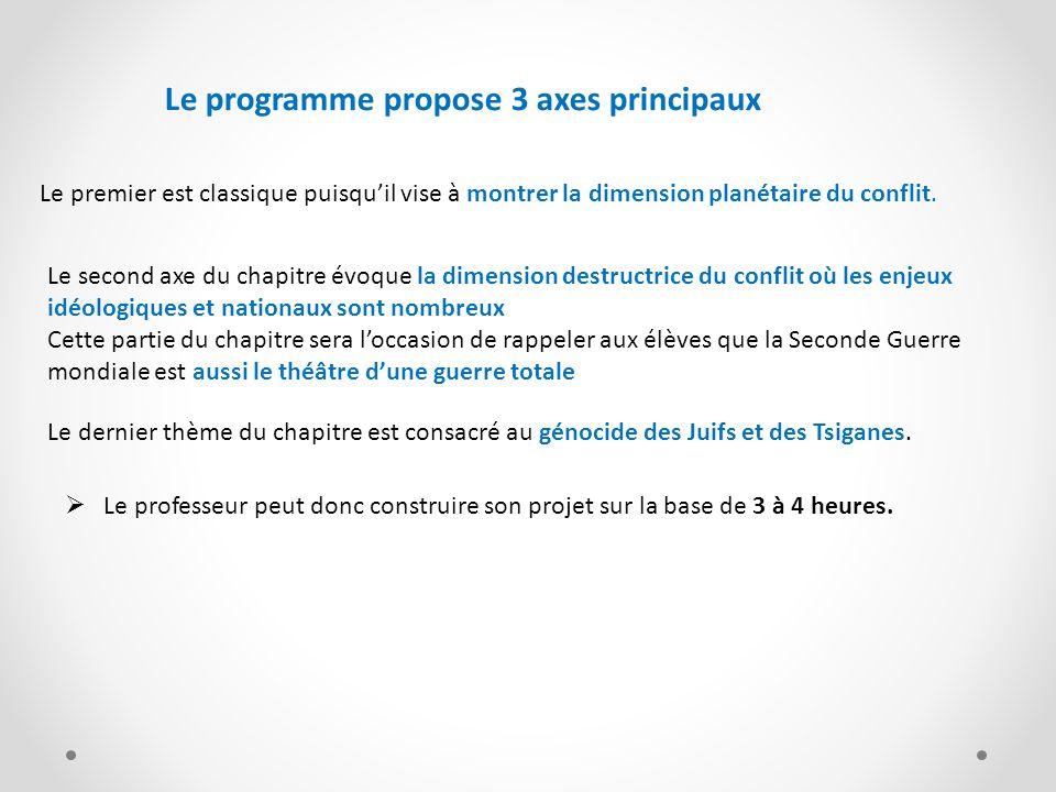 Le professeur peut donc construire son projet sur la base de 3 à 4 heures. Le premier est classique puisquil vise à montrer la dimension planétaire du