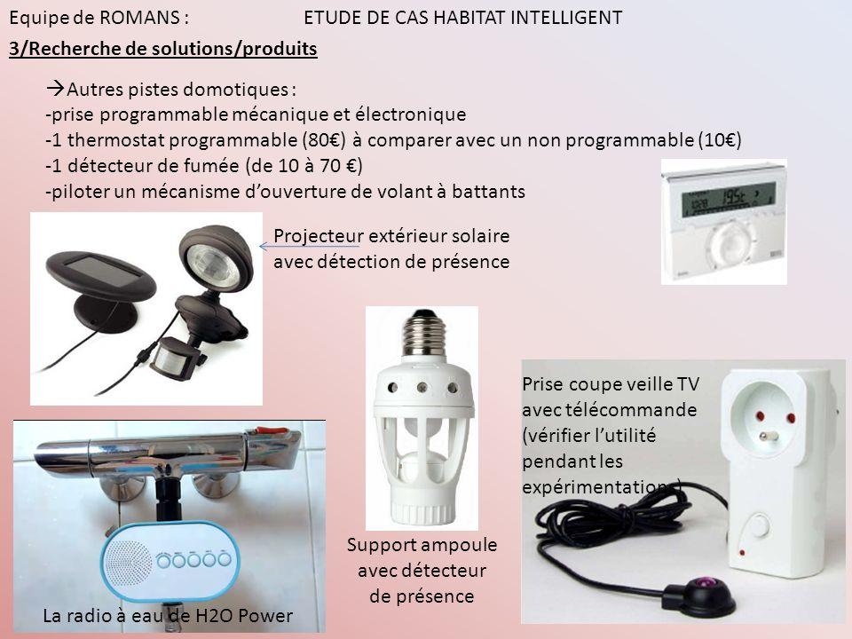 Equipe de ROMANS : ETUDE DE CAS HABITAT INTELLIGENT 4/Validation des hypothèses Pistes dinvestigation: >La solution envisagée induit-elle une économie dénergie.