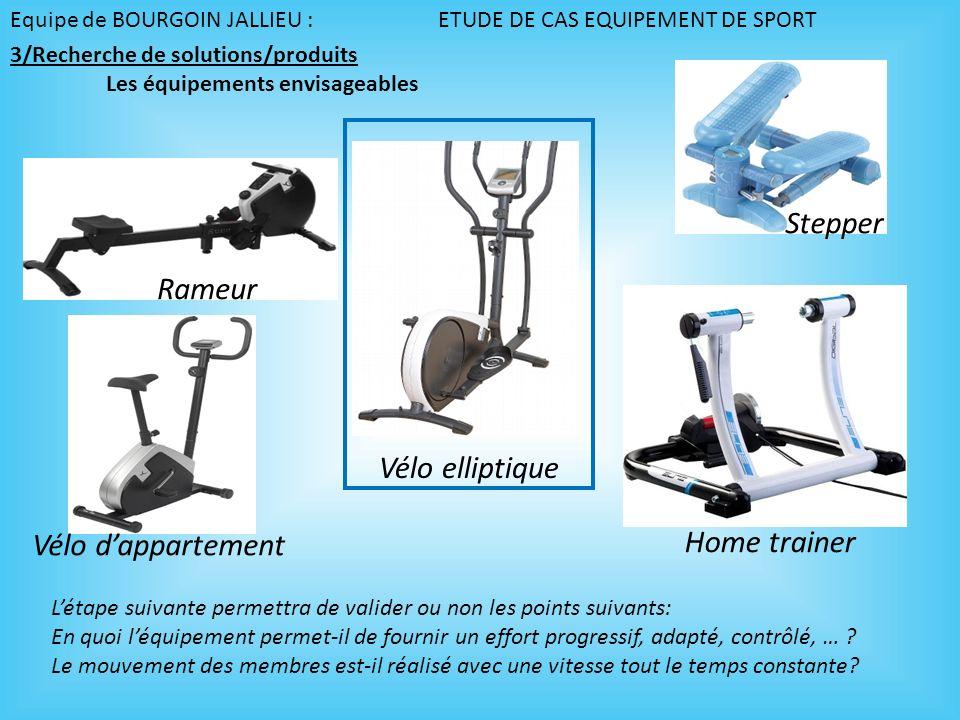 Equipe de BOURGOIN JALLIEU : ETUDE DE CAS EQUIPEMENT DE SPORT Vélo elliptique Rameur Stepper Home trainer Vélo dappartement Létape suivante permettra