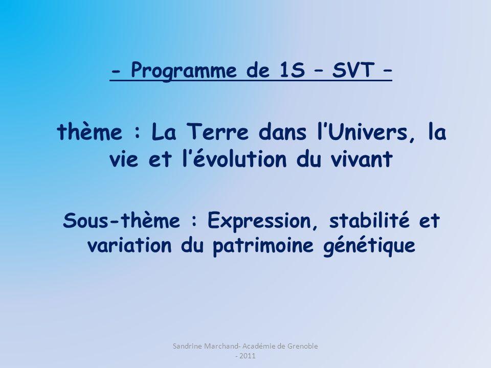 - Programme de 1S – SVT – thème : La Terre dans lUnivers, la vie et lévolution du vivant Sous-thème : Expression, stabilité et variation du patrimoine