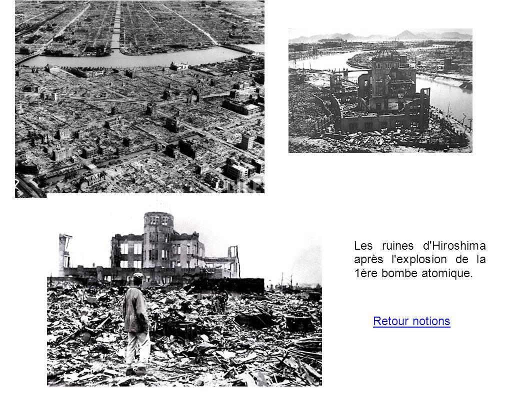 Les ruines d'Hiroshima après l'explosion de la 1ère bombe atomique. Retour notions