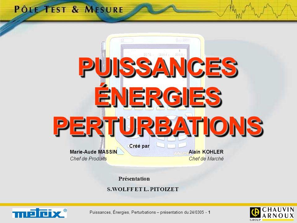 Puissances, Énergies, Perturbations – présentation du 24/0305 - 1 PUISSANCESÉNERGIESPERTURBATIONSPUISSANCESÉNERGIESPERTURBATIONS Créé par Marie-Aude M