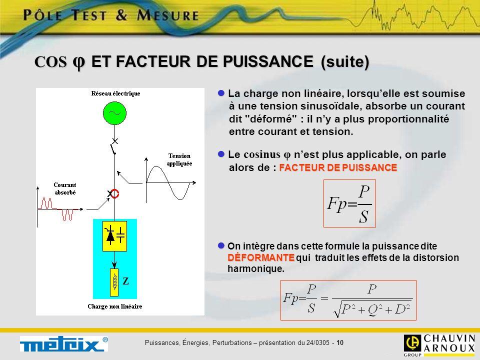Puissances, Énergies, Perturbations – présentation du 24/0305 - 10 La charge non linéaire, lorsquelle est soumise à une tension sinusoïdale, absorbe u