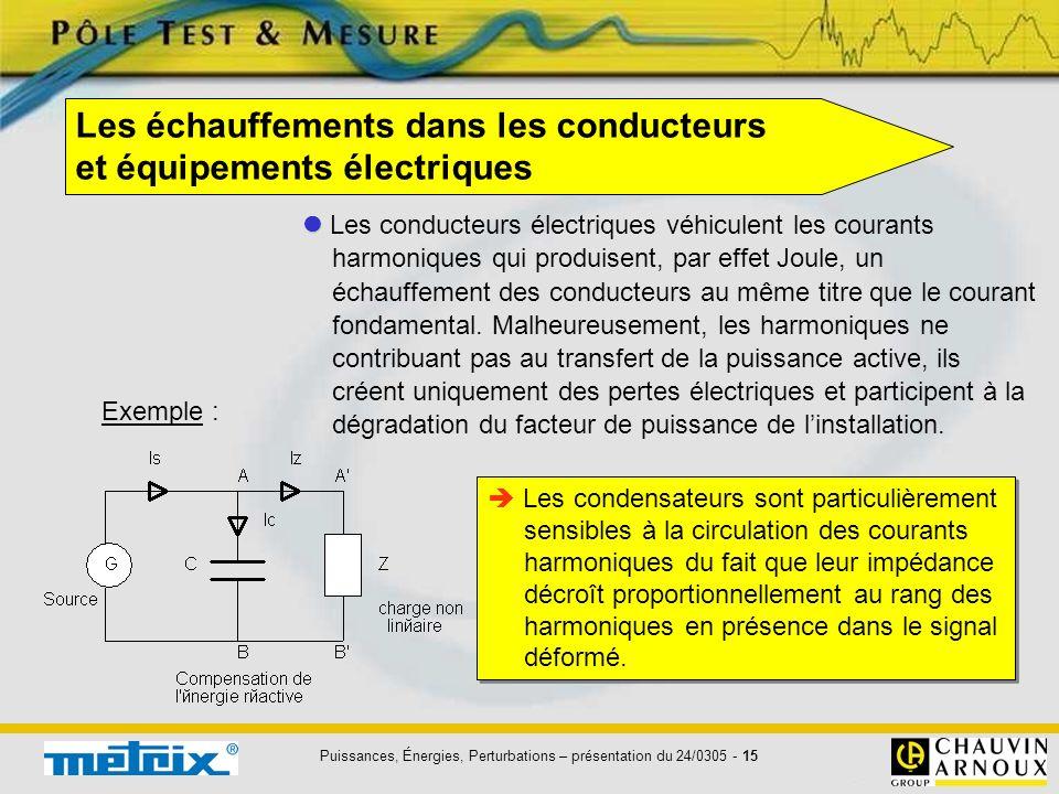 Puissances, Énergies, Perturbations – présentation du 24/0305 - 15 Les échauffements dans les conducteurs et équipements électriques Les conducteurs é