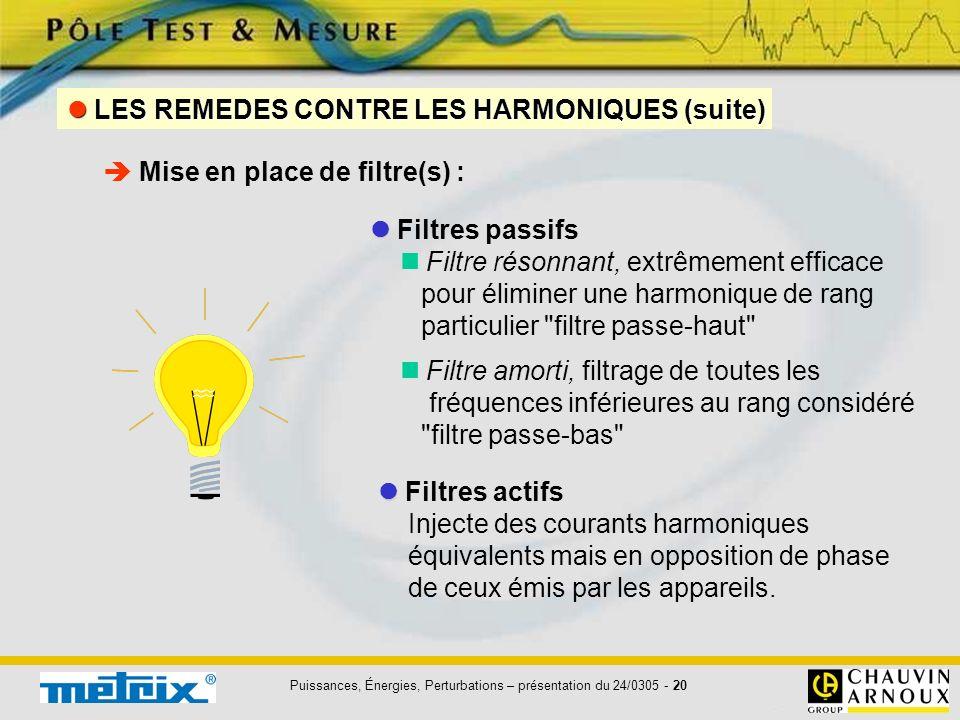 Puissances, Énergies, Perturbations – présentation du 24/0305 - 20 Filtres passifs Filtre résonnant, extrêmement efficace pour éliminer une harmonique