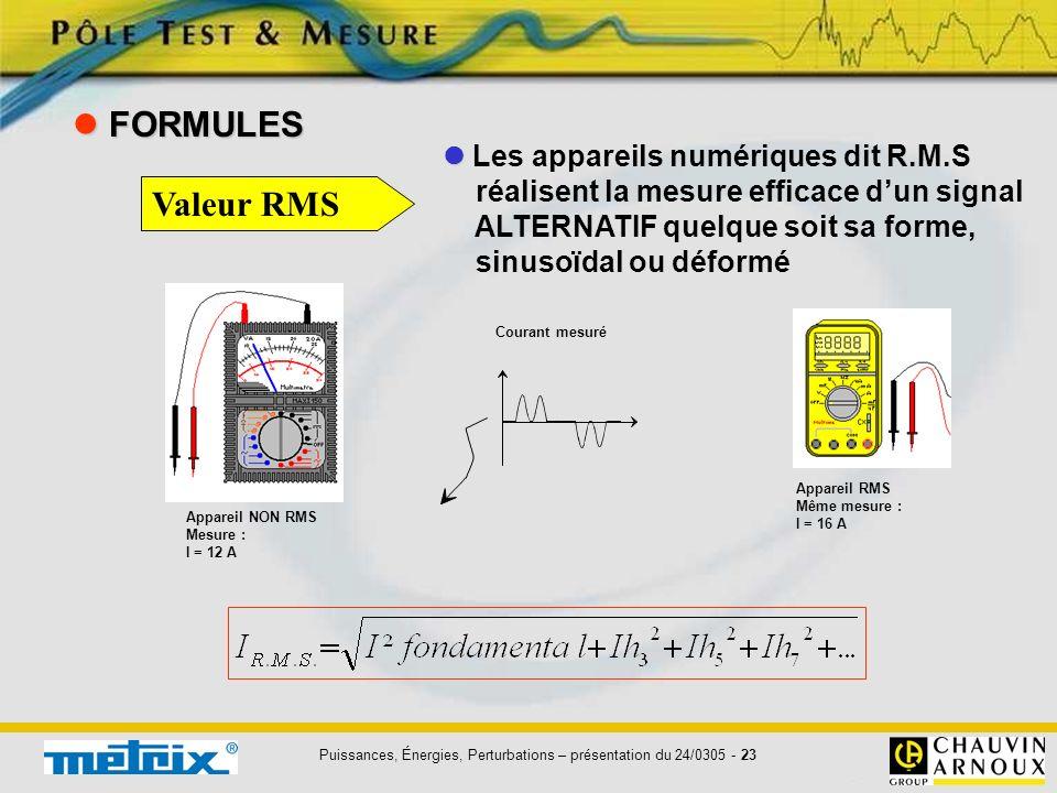 Puissances, Énergies, Perturbations – présentation du 24/0305 - 23 Les appareils numériques dit R.M.S réalisent la mesure efficace dun signal ALTERNAT