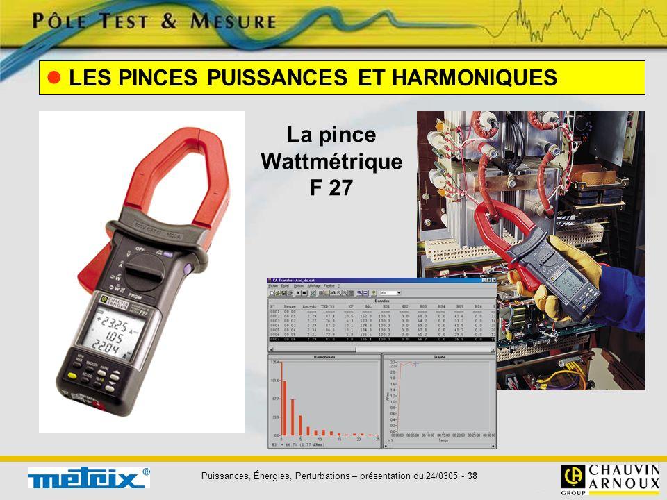 Puissances, Énergies, Perturbations – présentation du 24/0305 - 38 LES PINCES PUISSANCES ET HARMONIQUES La pince Wattmétrique F 27