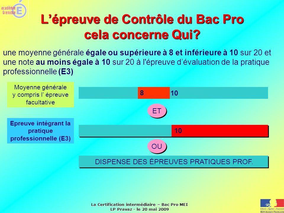 La Certification intermédiaire – Bac Pro MEI LP Pravaz - le 20 mai 2009 Lépreuve de Contrôle du Bac Pro cela concerne Qui? 10 8 Moyenne générale y com