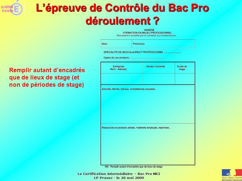 La Certification intermédiaire – Bac Pro MEI LP Pravaz - le 20 mai 2009 Lépreuve de Contrôle du Bac Pro déroulement ? Remplir autant dencadrés que de