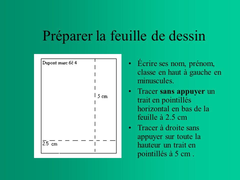 Préparer la feuille de dessin Écrire ses nom, prénom, classe en haut à gauche en minuscules.