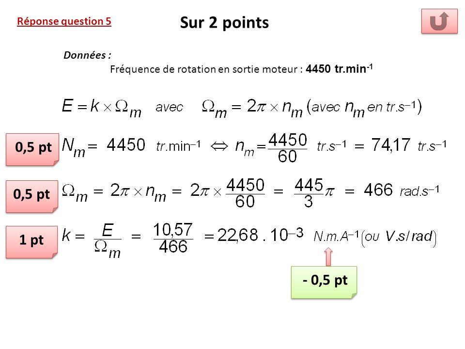 Réponse question 5 Sur 2 points 0,5 pt 1 pt Données : Fréquence de rotation en sortie moteur : 4450 tr.min -1 - 0,5 pt