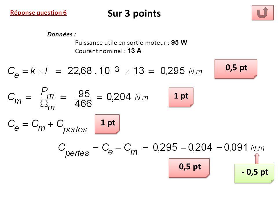 Réponse question 6 Sur 3 points 0,5 pt 1 pt Données : Puissance utile en sortie moteur : 95 W Courant nominal : 13 A 0,5 pt - 0,5 pt