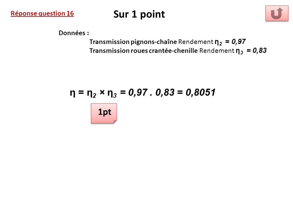Réponse question 16 Sur 1 point Données : Transmission pignons-chaîne Rendement η 2 = 0,97 Transmission roues crantée-chenille Rendement η 3 = 0,83 η