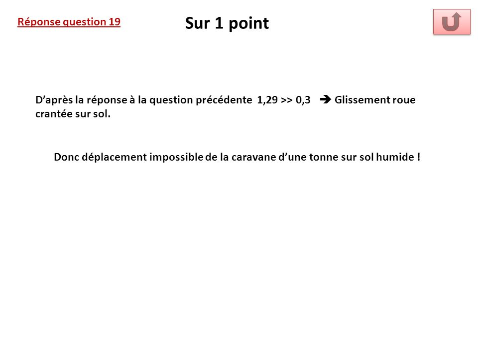 Réponse question 19 Sur 1 point Daprès la réponse à la question précédente 1,29 >> 0,3 Glissement roue crantée sur sol. Donc déplacement impossible de