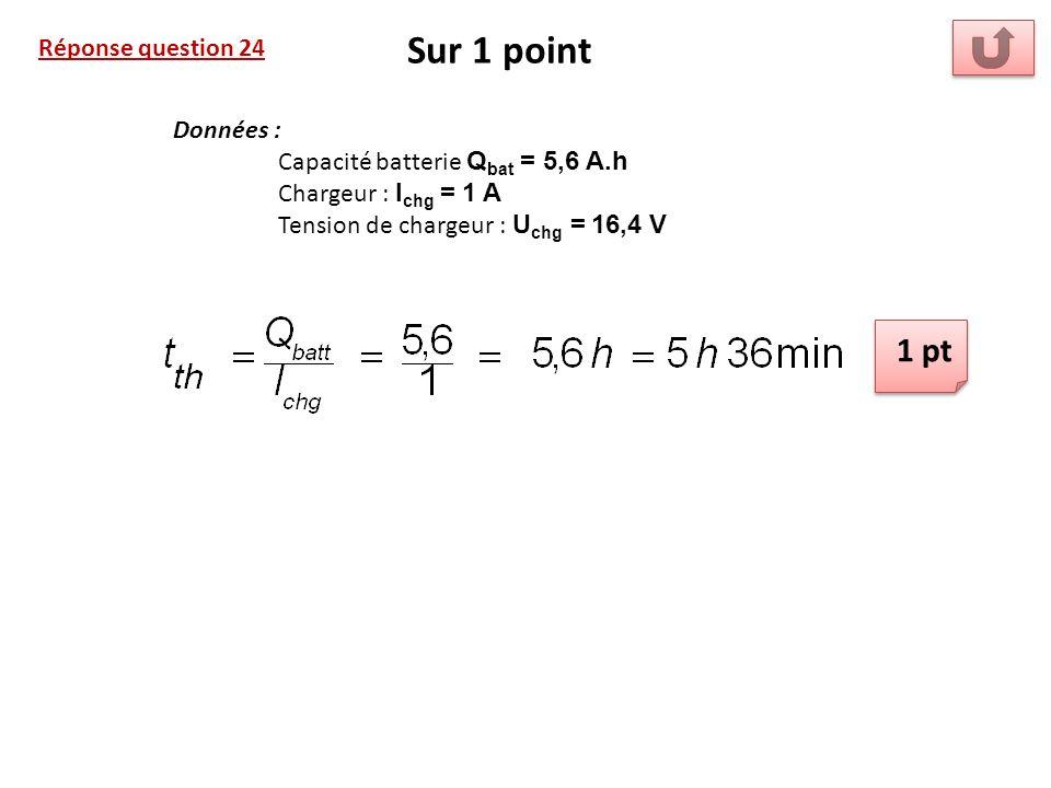 Réponse question 24 Sur 1 point Données : Capacité batterie Q bat = 5,6 A.h Chargeur : I chg = 1 A Tension de chargeur : U chg = 16,4 V 1 pt