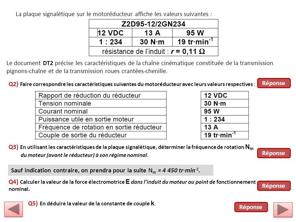 La plaque signalétique sur le motoréducteur affiche les valeurs suivantes : Le document DT2 précise les caractéristiques de la chaîne cinématique constituée de la transmission pignons-chaîne et de la transmission roues crantées-chenille.