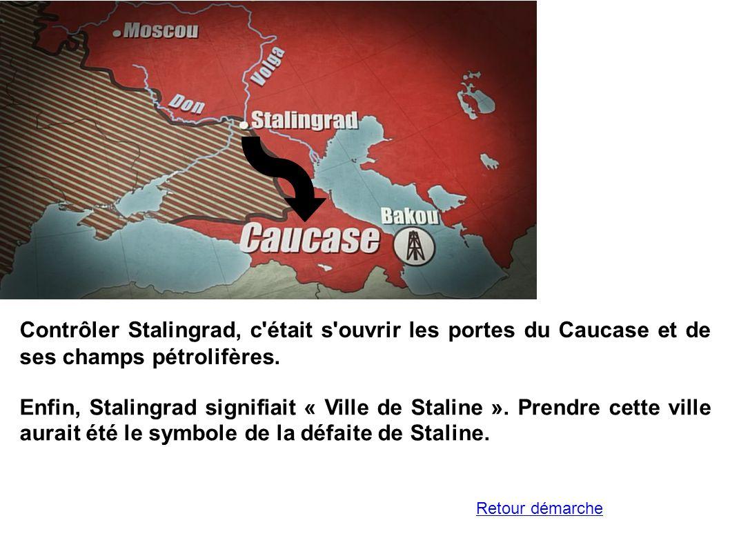 Contrôler Stalingrad, c'était s'ouvrir les portes du Caucase et de ses champs pétrolifères. Enfin, Stalingrad signifiait « Ville de Staline ». Prendre