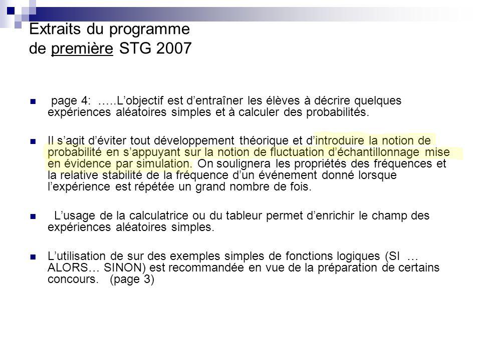 Extraits du programme de première STG 2007 page 4: …..Lobjectif est dentraîner les élèves à décrire quelques expériences aléatoires simples et à calcu