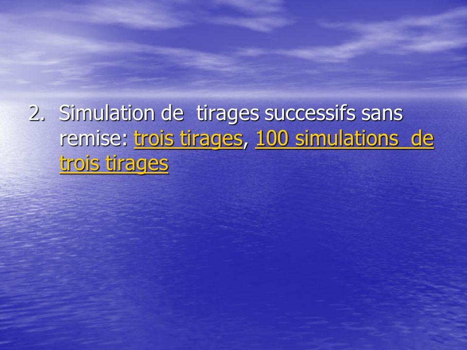 2. Simulation de tirages successifs sans remise: trois tirages, 100 simulations de trois tirages trois tirages100 simulations de trois tiragestrois ti