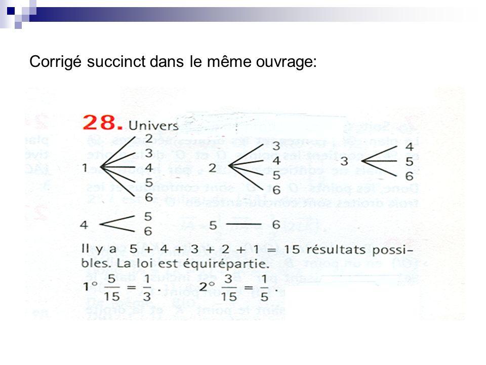 Corrigé proposé: faire un dessin de lurne Réponse a) Soit A : « tirer deux nombres consécutifs » A = {{1;2}, {2;3}, {3;4}, {4;5}, {5;6} } Comme il y a équiprobabilité des événements élémentaires, p(A) = corrigé du même type pour lévénement B.