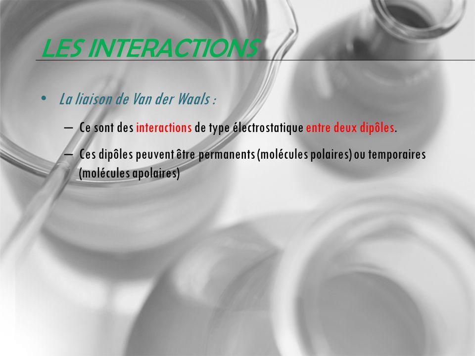 LES INTERACTIONS La liaison de Van der Waals : – Ce sont des interactions de type électrostatique entre deux dipôles. – Ces dipôles peuvent être perma