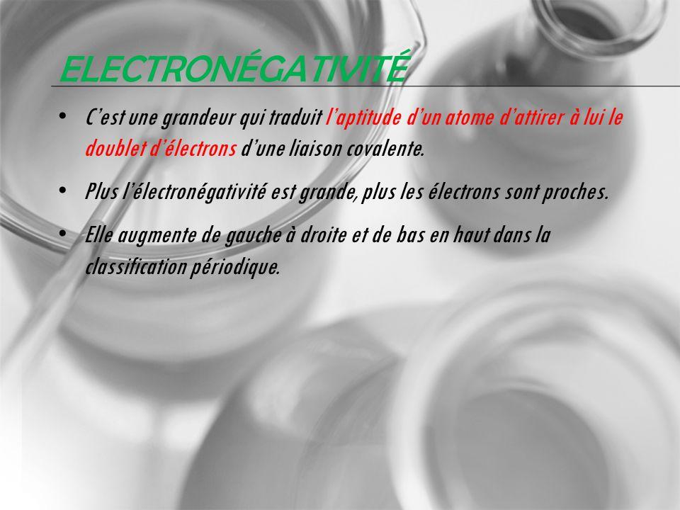 ELECTRONÉGATIVITÉ Cest une grandeur qui traduit laptitude dun atome dattirer à lui le doublet délectrons dune liaison covalente. Plus lélectronégativi
