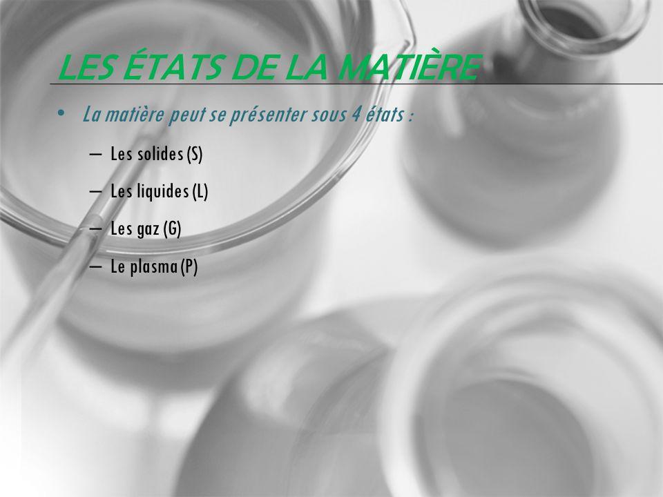 LES ÉTATS DE LA MATIÈRE La matière peut se présenter sous 4 états : – Les solides (S) – Les liquides (L) – Les gaz (G) – Le plasma (P)