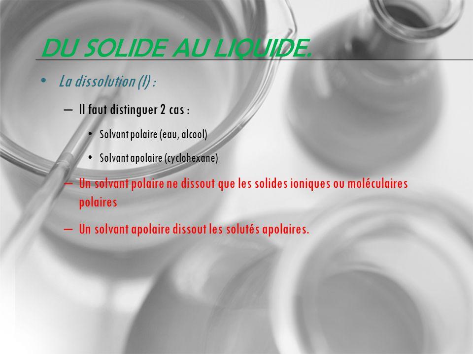 DU SOLIDE AU LIQUIDE. La dissolution (I) : – Il faut distinguer 2 cas : Solvant polaire (eau, alcool) Solvant apolaire (cyclohexane) – Un solvant pola