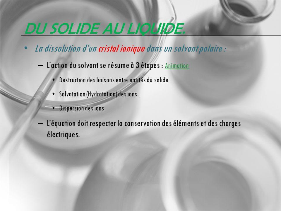 DU SOLIDE AU LIQUIDE. La dissolution dun cristal ionique dans un solvant polaire : – Laction du solvant se résume à 3 étapes : Animation Animation Des