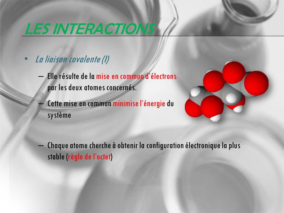 LES INTERACTIONS La liaison covalente (I) – Elle résulte de la mise en commun délectrons par les deux atomes concernés. – Cette mise en commun minimis